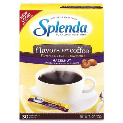 Johnson and Johnson Splenda No Calorie Sweetener, Flavors for Coffee, Hazelnut, 30 sticks per box -- 6 boxes per case