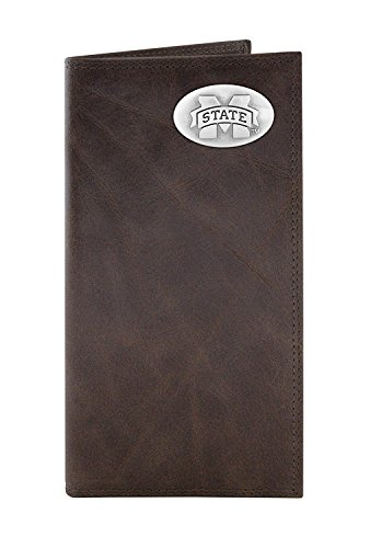 NCAA Mississippi State Bulldogs Zep-Pro Wrinkle Leather Roper Concho Wallet (Brown)