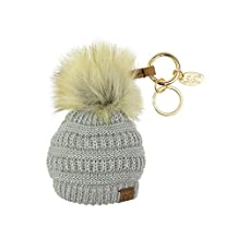 NYFASHION101® Pom Pom Beanie Key Chain Key Ring Handbag Tote Accessory - Metallic Silver