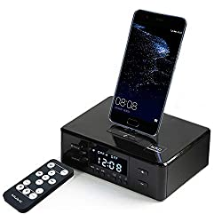 Up Force Digital NFC Bluetooth Speaker Dual Alarm Clock FM Radio Dock Station Charging for iOS Android with Remote Control, Black