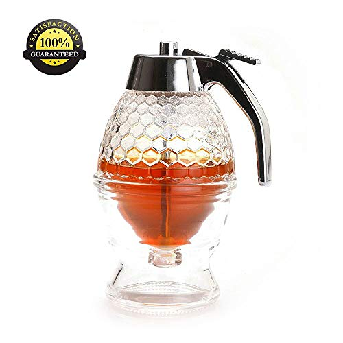 - ShineMe Honey Syrup Dispenser Jam Dispensers with Stand, 6.7-Ounce Capacity