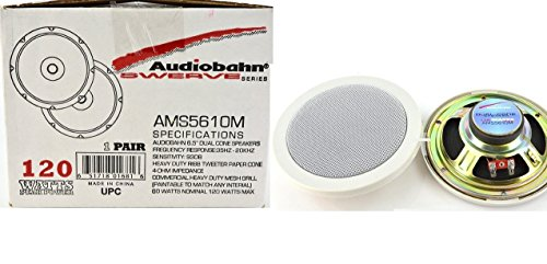 "New Pair of 6.5"" Dual Cone AMS5610M Audiobahn Heavy Duty Ribb Tweeter Marine Boat Yacht White Color Speakers System"