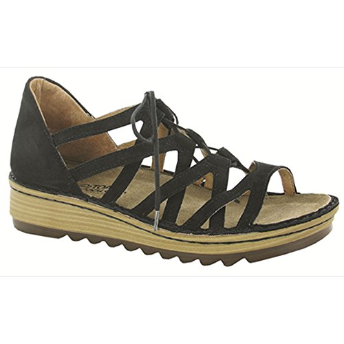 Naot Footwear Women's Yarrow Black Velvet Nubuck Sandal