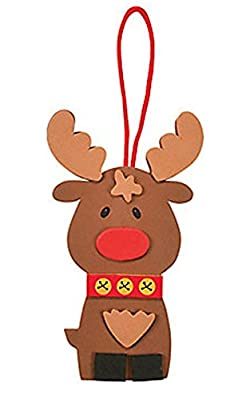 Set of 12 Cute Reindeer Ornament Foam Craft Project Kit