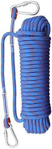 クライミングロープ、アウトドアクライミングロープレスキューエスケープロープラペリングスタティックロープ着用安全ロープ、直径8 mm。,20m-Blue
