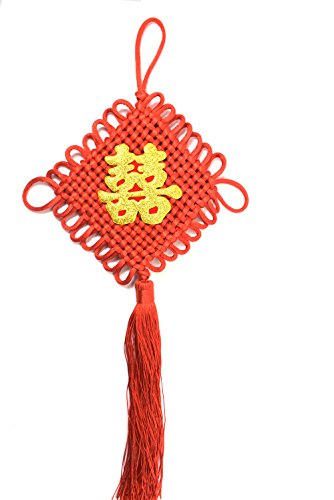 Chinese Red Enless Knot Mystic Knot Feng Shui Double Happiness with Tassel Good Luck Charm to Attract Wealth and Health