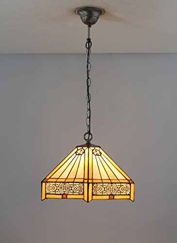 FixtureDisplays Tiffany Style Warm Light Glass & Steel Hanging Pendant Ceiling Lamp Fixture 16694 by FixtureDisplays