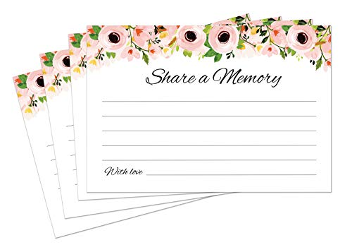 Share a Memory Cards - 50 Pack - Tasteful Alternative to Funeral Guest Books for Memorial and Celebration of Life or Going Away Party, Birthday or Graduation Guest Book ()