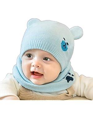 2PCS/Set Lovely Cartoon Bear Design Newborn Baby Warm Knitted Cap + Neck Gaiter Warmer Suits