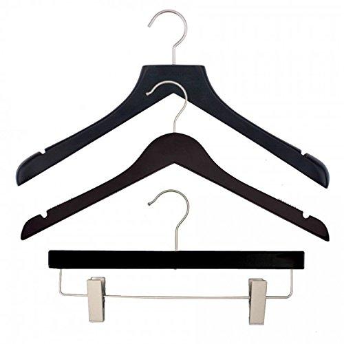 NAHANCO 20217HUSK Wood Clothes Hanger Kit - Low Gloss Black (Pack of 79)