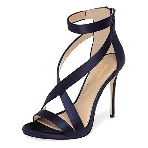 XYD Womens Criss Cross Ankle Strap Sandals Open Toe Stilettos High Heels Back Zipper Bridal Wedding Party Shoes 6 Navy Blue-Satin ()