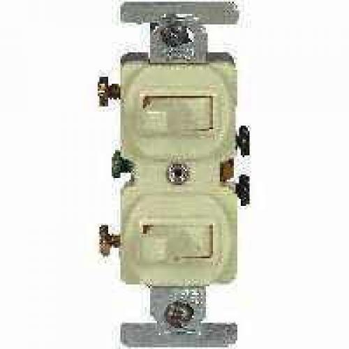 Cooper Wiring 276V-BOX 3-Way Ivory Duplex Toggle