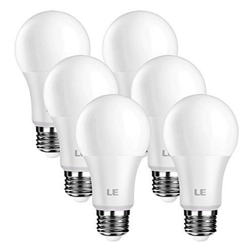 LE A19 LED Light Bulb, Dimmable, 60W Incandescent Bulb Equivalent, 8.5 Watt 800 Lumens, 5000K Daylight White Natural Light, E26 Medium Base, Frosted Type A Bulbs, Pack of 6
