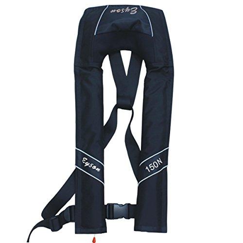 (Premium Quality Manual Inflatable Life Jacket Lifejacket PFD Life Vest Slim Inflate Survival Aid Lifesaving PFD Black Color)