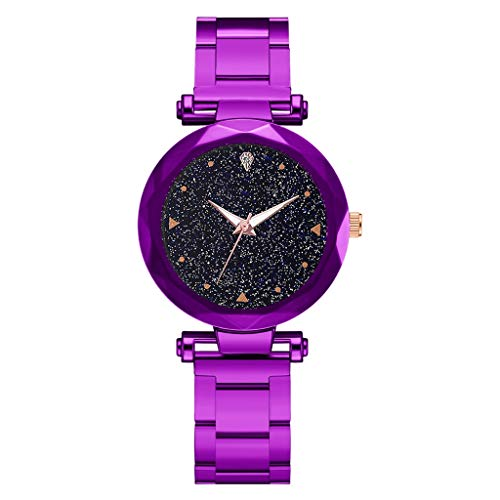 (Sodoop Quartz Watches for Women, Luxury Fashion Ladie Quartz Wrist Watch with Steel Belt Star Sky Dial, Casual Simple Dress Watches for Girls)