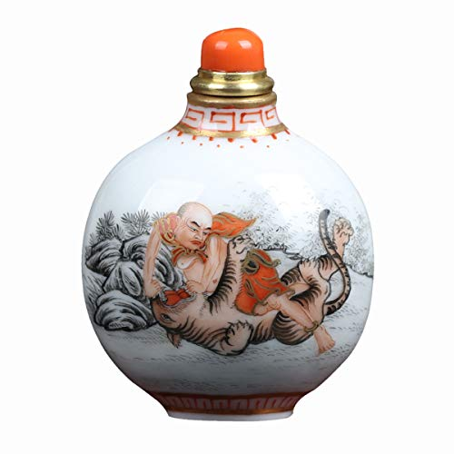 Royal gift Ceramics Luohan Chinese Style Specialty Gifts Handicraft Porcelain Snuff Bottle Collection/Gift Giving