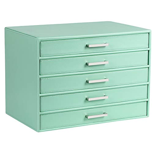 SONGMICS Jewelry Box Large Makeup Case Mint Green