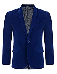 LotMart Boys Velvet Blazer Kids Suit Jacket Paisley Lining Smart Casual Formal