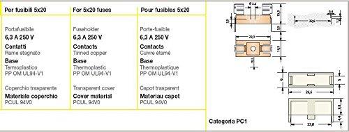 6,3/A con cubierta Ecomponent Portafusibles de circuito impreso para fusibles 5/x 20
