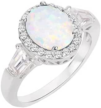 Oval Halo White Simulated Opal Ring Sterling Silver (Sizes 4-13)