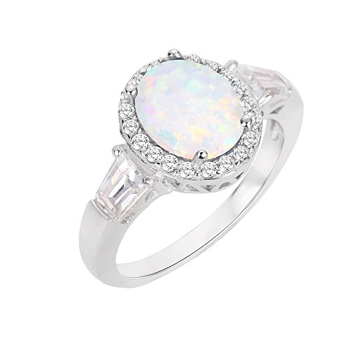 (CloseoutWarehouse Oval Halo White Simulated Opal Ring Sterling Silver Size 9)