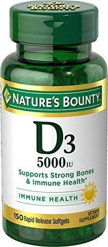 Nature's Bounty Vitamin D3 5000 IU, 150 Softgels