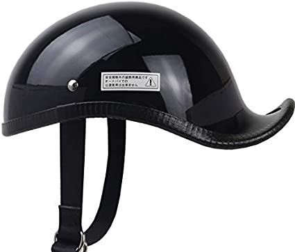 Amazon.es: Casco de Moto Estilo japonés Media Cara Ligero Fibra de Vidrio Retro Unisex Ocio Cascos-Negro Brillante, S