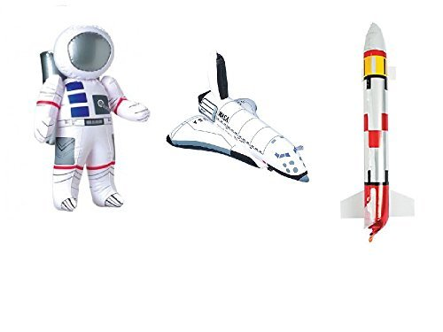 3 Outer Space PARTY DECORATIONS - Inflatable ROCKET - ASTRONAUT & SPACE SHUTTLE Inflate TOYS - BIRTHDY Party DECOR/Science- -