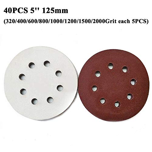 High Five Store 40pcs 5inch 320~2000Grit Round Sanding Discs Sandpapers Polishing with 8 Holes New Product hf448