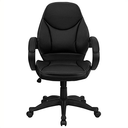 Flash Furniture Mid-Back Black Leather Contemporary Executive Swivel Chair with Arms