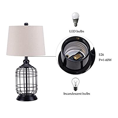 CO-Z Birdcage Base Table Lamps, Anti-Rust Metal Base & Oatmeal Linen Shade Desk Lamp, 25.5 inches Height for Living Room Bedroom Bedside Console