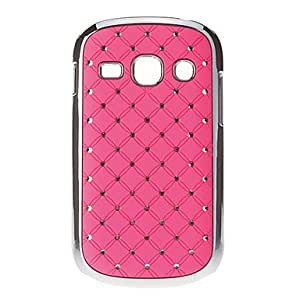 get Rhinestone Inlaid Silver Plating Pattern Hard Back Case Cover for Samsung Galaxy Fame S6810 , Red