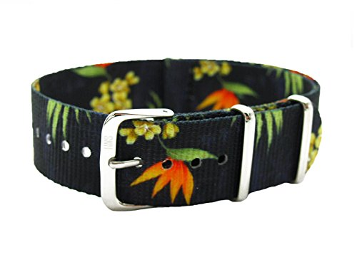 HNS 20mm Double Graphic Printed Flowers Black BG Ballistic Nylon Watch Strap Polished Buckle NT186 Ballistic Mens Watch