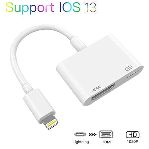 HDMI to Digital AV Adapter 1080P Digital AV Adapter Lἱghtning to HDMI Sync Screen Connector with Charging Port Adapter Compatible with iPhone//iPad//iPod Mini Air Sync to HDTV//Monitor//Projector-White