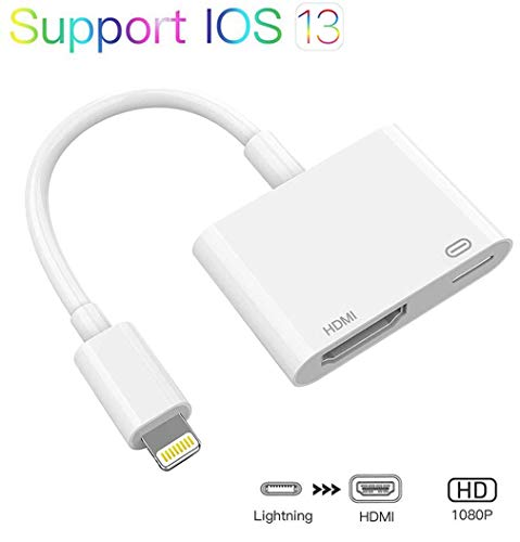 Lighting to HDMI Adapter, 1080P Sync Screen Digital AV Connector Compatible with iPhone 11/11 Pro/XS Max/XS/XR/X 8 7 6 5, iPad and iPod to HD TV/Monitor/Projector, HDMI Connector (White)