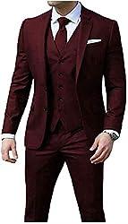 3 Pieces Slim Fit Burgundy Men's Suits Peak Lapel 2 Buttons Wedding Suits