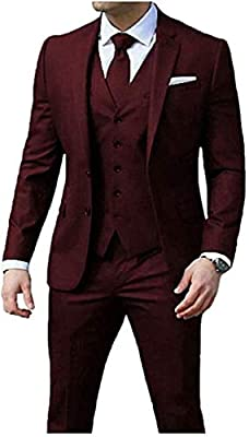 3 Pieces Slim Fit Burgundy Men's Suits Peak Lapel 2 Buttons Wedding Suits
