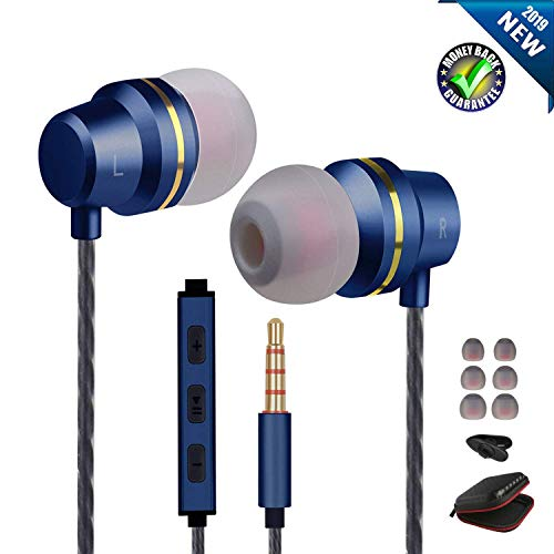 Earbuds Ear Buds Wired Headphones with Microphone in Ear Earphones with Stereo Mic and Volume Control Compatible Android Smart Phones Samsung Music Noise Cancelling Earbuds with 3.5mm Jack