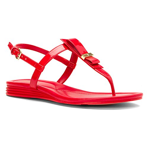 Cole Haan Women's Marnie Wedge Sandal, True Red Patent, 7.5 B US - Low Heel Patent Thong Sandal