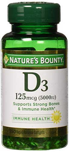 Nature's Bounty Vitamin D3 125 mcg-5000 IU Softgels, Maximum Strength 150 (Natures Bounty Natural Vitamin)