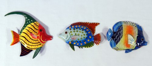 Handpainted Tropical Fish Magnet Assorted (Set Of 3)