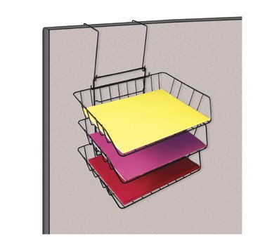 (OfficeMax Wire Partition Additions Triple Tray, Black OM96944)