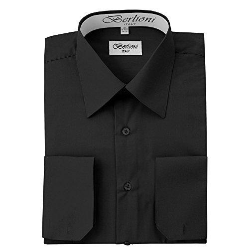 Dress Little Black Convertible (Berlioni Italy Men's Convertible Cuff Solid Dress Shirt Black-M (15-15½) Sleeve 34/35)