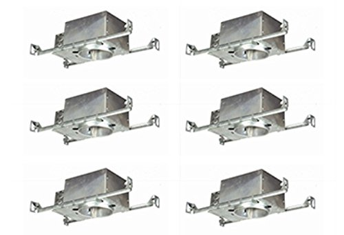 6 Pack of 4 in. Recessed Light Fixture Air tight, New Construction - IC and Air Tight Rated Can Light Housing - Xlumen Brand