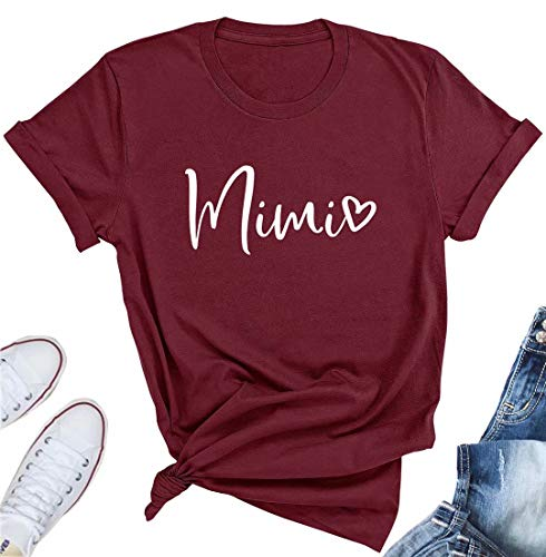 (Women's Mimi Heart Graphic Cute Grandma T Shirt Letter Print Short Sleeve Tees Casual Mimi Gift Tops Size Small)