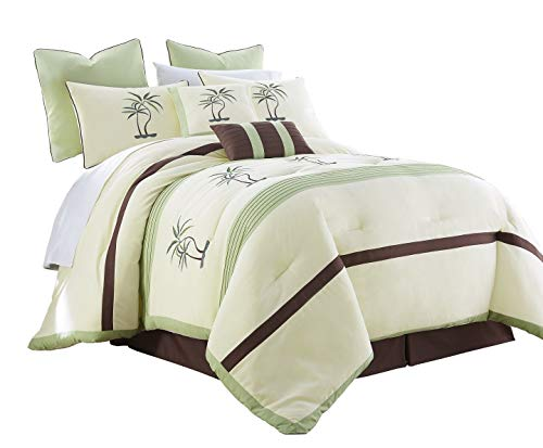 - Chezmoi Collection Bali 8-Piece Embroidered Palm Trees Pleated Striped Comforter Set King Size