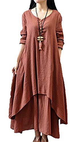 Yeesea Vestir Larga Vintage Moda Talla Largo Casual Kaftan Grande Vino Largo Vestidos Rojo Manga Algodón y Mujer Lino rUq4Axr