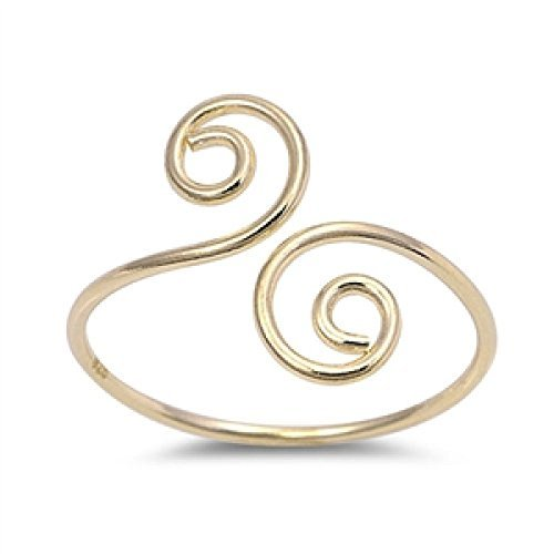Adjustable Double Spiral Sterling Silver 925 Toe Ring Beach Jewelry Yellow Gold (Spiral Sterling Silver Fashion Ring)
