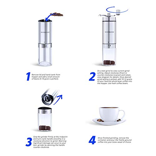 Wheroamoz Manual Coffee Grinder,Conical Burr Mill With Adjustable Setting, Portable Hand Crank Coffee Grinder For Travel, Brushed Stainless Steel, Best For Espresso, French Press, Cold & Turkish Brew
