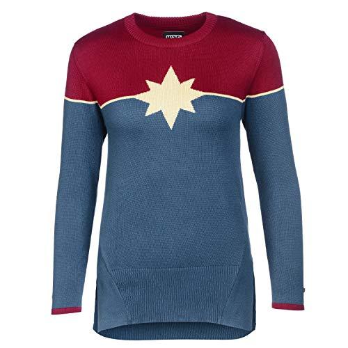 Musterbrand Marvel Women Crewneck Captain Marvel Burgundy/Blue XS